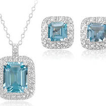 New Emarald Blue Topaz Pendant &ampamp Earrings Set Photo