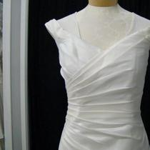 New Ivory Taffeta Lace Up Wedding Dress Sz 10 Photo