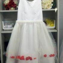 New White/Red Petal Dress Sz 12 Photo