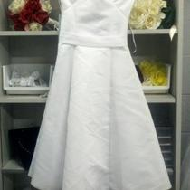 NEw White Sating Dress Sz 4 Photo