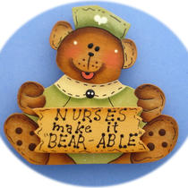 Nurse Bear Pin Green (Hand Painted Wood) Photo