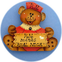 Nurse Bear Pin (Hand Painted Wood Antique Rose) Photo