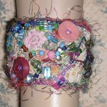 One of a Kind Wearable Fiber Art Bead Embroidered Stitched Cuff Bracelet Photo