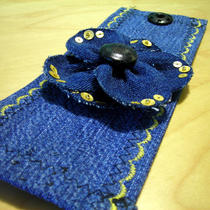 Ooak Denim Flower Wrist Cuff With Gold Detailing Photo