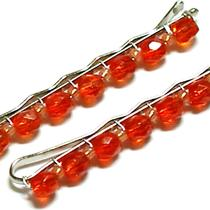 Orange Beaded Bobby Pins Photo
