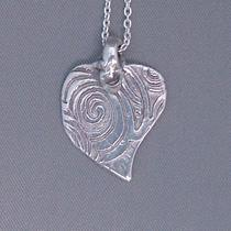 Organic Silver Heart Necklace Photo