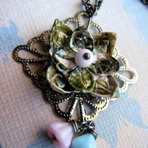 Origami Flower Necklace - Pastel Diamond Photo
