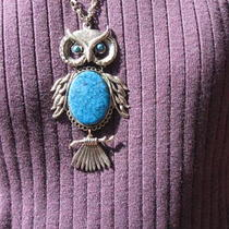 Owl Pendant Necklace With Inlaid Turquoise Photo