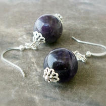 P R O T E C T I v E - Genuine Purple Amethyst Gemstone Earrings With Silver Photo