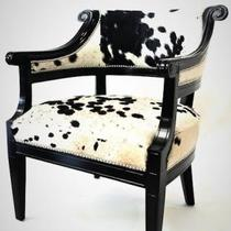 Pair of Neoclassic Armchairs, Uph. cowhides Photo