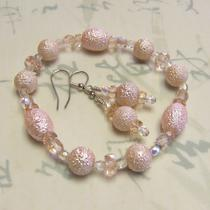 Palest Pink Textured Glass Bracelet & Earring Set Photo