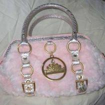 Paris Hilton Faux Pink Fur W/gold Gater Accents Handbag Too Gorgeous Photo