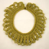 Pear Silk Knitted Necklace Collar With Vintage German Glass Button Closure Photo
