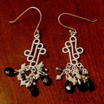 Pearls Black Spinel and Sterling Silver Left/right Chandeliers and Black Austrian Crystals Make These a Perfect Gift for Christmas Photo