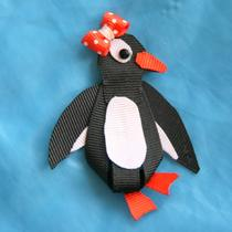 Penguin Ribbon Sculpture Hair Clip Photo