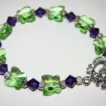 Peridot & Purple Butterfly Swarovski Crystal Bracelet Photo