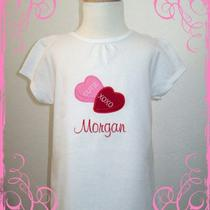 Personalized Candy Hearts valentine&39s Day Applique Shirt Photo