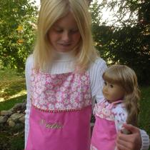 Personalized Girls Apron With Matching American Girl Apron in Pink and White daisy&amp39s Photo