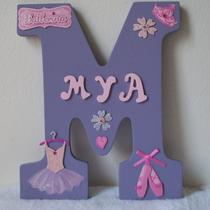 Personalized Wood Letter Wall Hanging - Ballerina Photo
