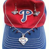 Phillies Necklace and Earrings Photo