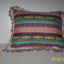 Pillow Delight  11&quot X 15&quot Button Fringed Polka Dot Flowered Material Photo