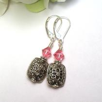 Pink Crystal and Silver Flower Earrings Photo