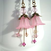 Pink Lady Slipper Flower Earrings Photo