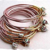 Pink Metallic Leather Bangles With Gold Plated Cloisonne Hearts Photo