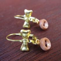Pink-Tan Buttons/brown Thread Brass Earrings Photo