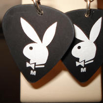 Playboy Bunny Guitar Pick Earrings Photo