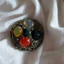 Polished Stone Brooch W/ Vintage Fillagree Accents Photo