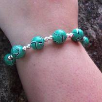 Polymer Clay Faux Torn Watercolor Bracelet- Green Photo