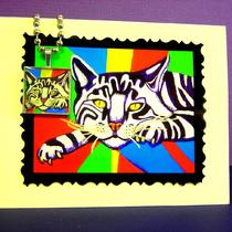 Pop Art Kitty Silver Resin Pendant Ball Chain Necklace With Free Matching Gift Card Photo