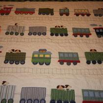Pottery Barn Kids Train Quilt and Pillow Sham Photo