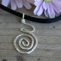 Pregnancy / Birth Spiral Pendant  Hammered Sterling Silver Original on Satin Cord Photo