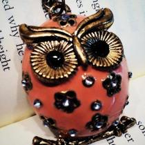 Pretty Pink Owl. A large owl charm necklace Photo