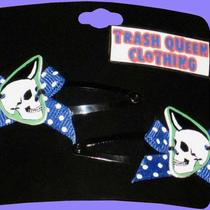 Psychobilly Skulls Hair Clips With Bows Photo