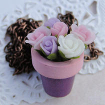 Purple and Pink Flower Pot Necklace With Bouquet of Rose Flowers in Pink White and Purple Photo