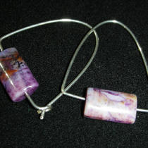 Purple Crazy Agate/silver Squared-Off Earrings Photo