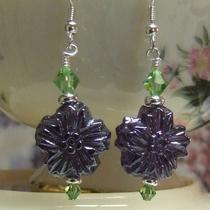 Purple Pressed Glass Flower Earrings Photo