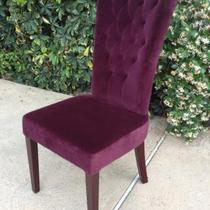 Purple Velvet Tall Back Chair Photo
