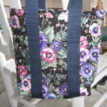 Quilted Bag Pansy Print With Straps Small Purse Photo