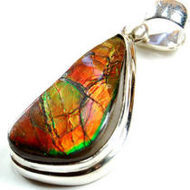 Rare Ammolite Sterling Silver Pendant Photo
