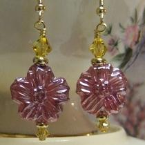 Raspberry Pressed Glass Flower Earrings Photo
