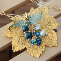 Real Full Moon Maple Leaf N Pearl N Crystals Necklace Photo