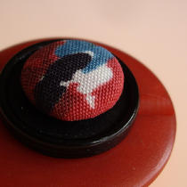 Red and Black Vintage Button Brooch Photo