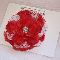 Red and Lace Flower Clip Photo