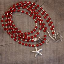 Red Coral Fine Silver Starfish Three Strand Necklace Photo
