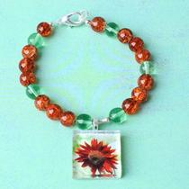Red Sunflower Photo Charm Bracelet Photo