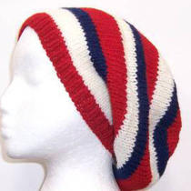 Red White Blue Hat Wool Beret Knitted Slouch  Hand Knitted Photo